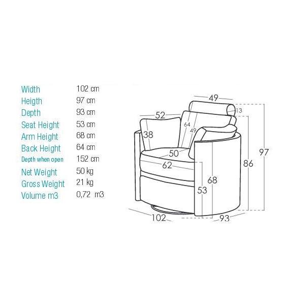 Reclining swivel rocking armchair | MOONRISE - Drawing - Reclining swivel rocking armchair | MOONRISE