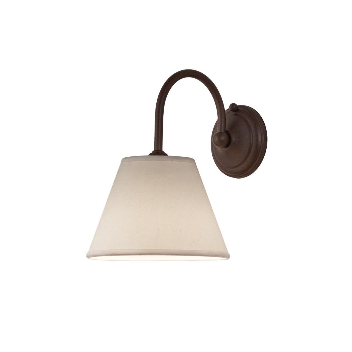 Φωτιστικό τοίχου καφέ σκουριά με καπέλο ΝΑΞΟΣ-2 rusty wall lamp with lamp shade