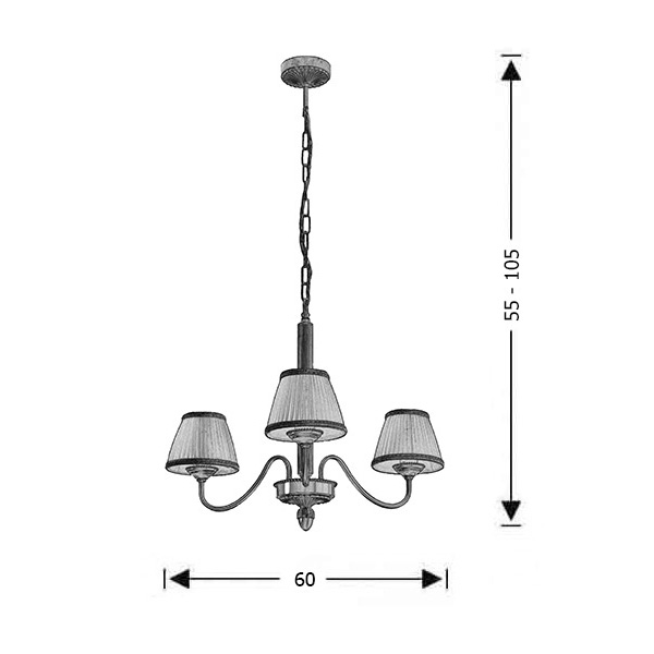 Classic brass 3-bulb chandelier with shades | OLYMPUS - Drawing - Classic brass 3-bulb chandelier with shades | OLYMPUS