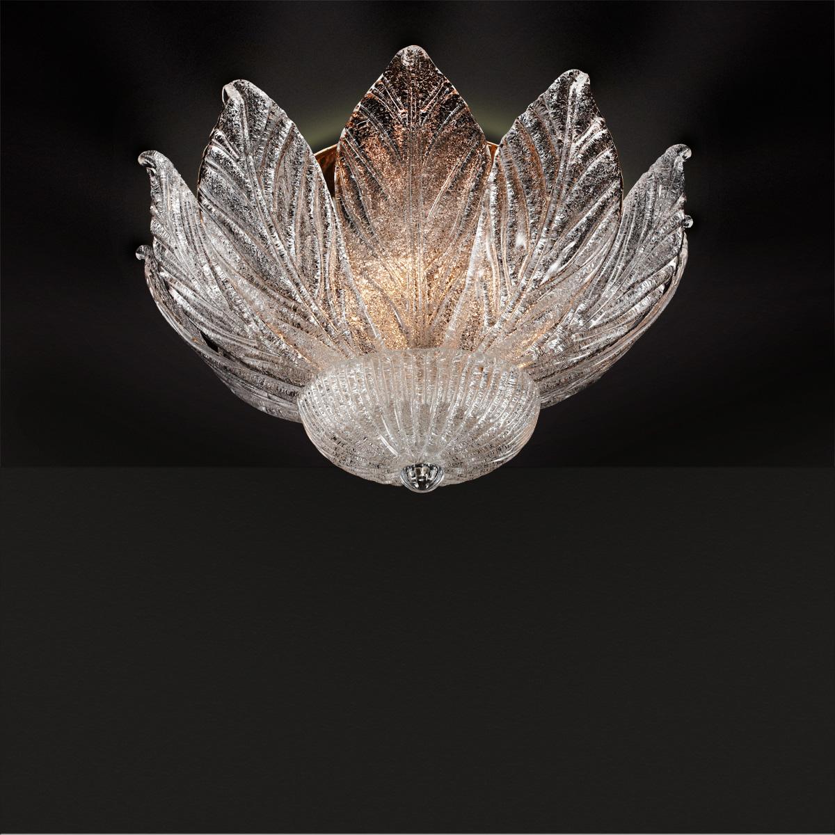Φωτιστικό οροφής με κρυστάλλινα φύλλα Μουράνο ΗΛΙΟΣ classic ceiling lamp with crystal leaves