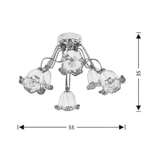 Neoclassical ceiling lamp | FIORE - Drawing - Neoclassical ceiling lamp | FIORE