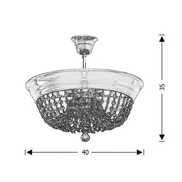 Classic ceiling lamp with crystal accents | ARTEMIS - Drawing - Classic ceiling lamp with crystal accents | ARTEMIS