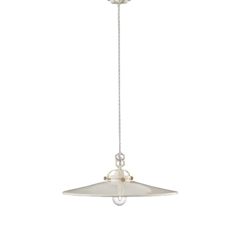 Λευκό κεραμικό μονόφωτο B&W white ceramic pendant lamp