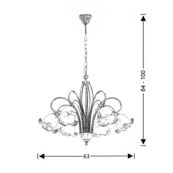 Classic 6-bulb with Murano crystals | NYMPHEO - Drawing - Classic 6-bulb with Murano crystals | NYMPHEO