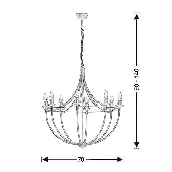 Παραδοσιακό 8φωτο φωτιστικό σε πατίνα γραφίτη | VILLAGE - Σχέδιο - Παραδοσιακό 8φωτο φωτιστικό σε πατίνα γραφίτη | VILLAGE