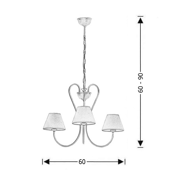 Classic chandelier with lamp shades | NAXOS-1 - Drawing - Classic chandelier with lamp shades | NAXOS-1