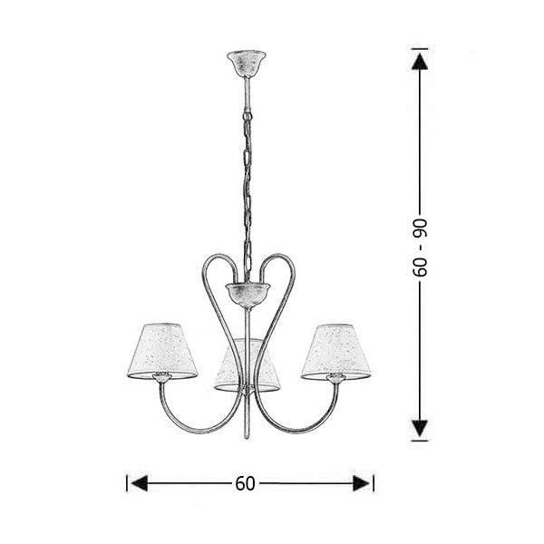 3-bulb brown patinated rustic pendant lamp | NAXOS-2 - Drawing - 3-bulb brown patinated rustic pendant lamp | NAXOS-2