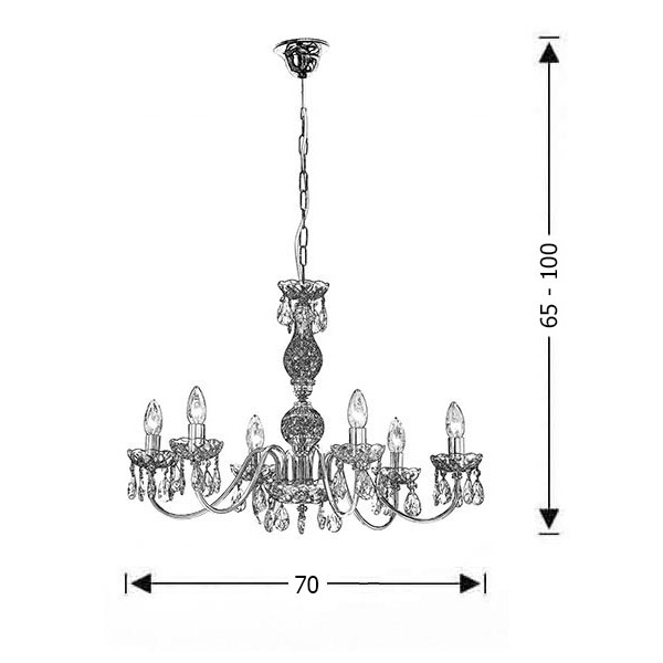Chandelier with crystals | VERGINA - Drawing - Chandelier with crystals | VERGINA