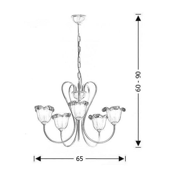 5-bulb chandelier with Murano crystals | NAXOS-1 - Drawing - 5-bulb chandelier with Murano crystals | NAXOS-1