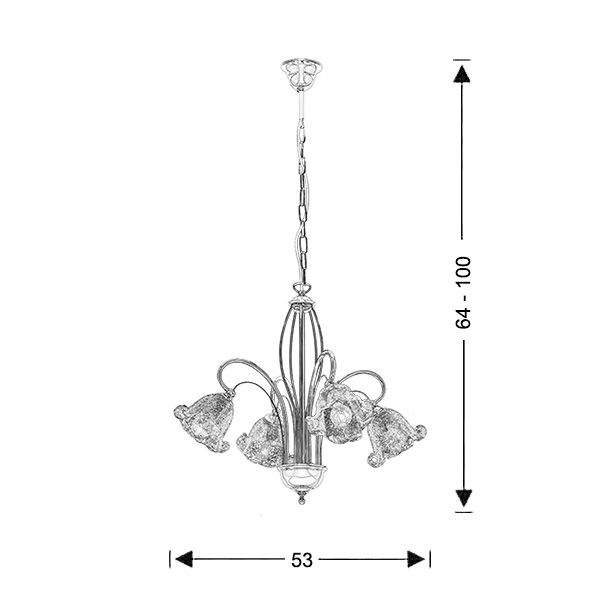 Chandelier with Murano crystals | NYMPHEO - Drawing - Chandelier with Murano crystals | NYMPHEO