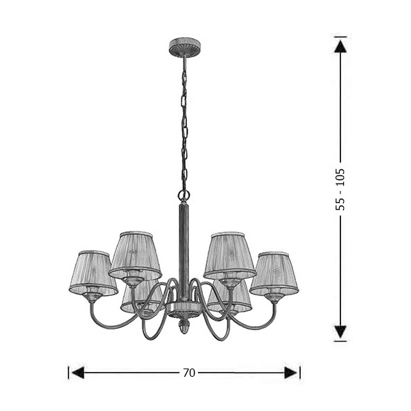 Classic brass 6-bulb chandelier with shades | OLYMPUS - Drawing - Classic brass 6-bulb chandelier with shades | OLYMPUS