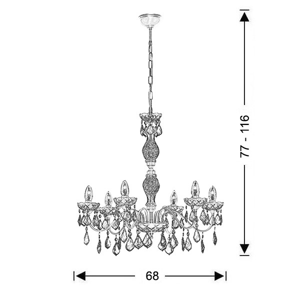 Classic 6-bulb chandelier with crystal accents | DION - Drawing - Classic 6-bulb chandelier with crystal accents | DION