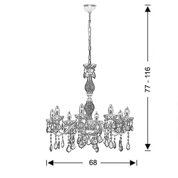 Classic 8-bulb chandelier with crystals | DION - Drawing - Classic 8-bulb chandelier with crystals | DION
