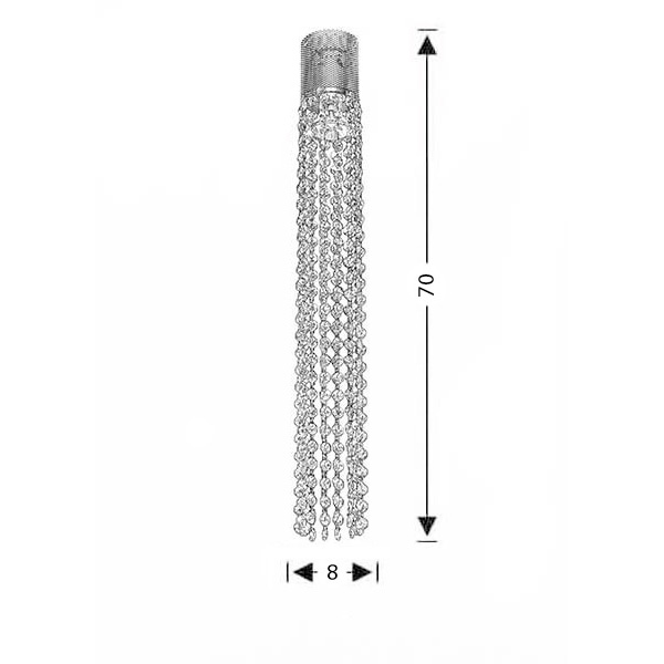 Suspension lamp with crystal accents | ANDROMEDA - Drawing - Suspension lamp with crystal accents | ANDROMEDA
