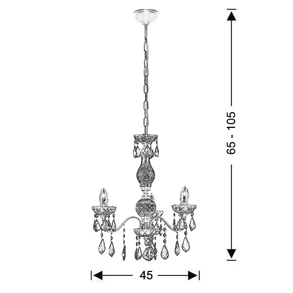 Classic 3-bulb chandelier   DION - Drawing - Classic 3-bulb chandelier   DION