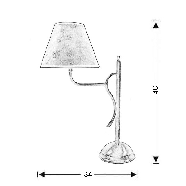 Classic table lamp with shade | ELATI - Drawing - Classic table lamp with shade | ELATI