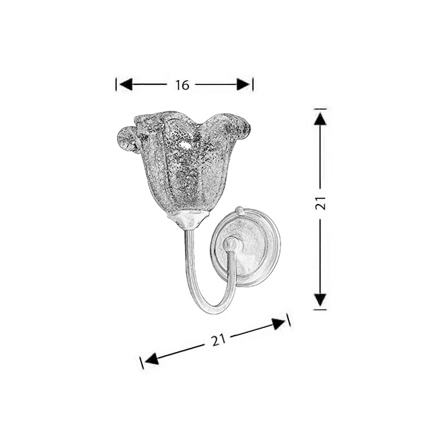 Classic wall lamp with Murano crystal | NAXOS-1 - Drawing - Classic wall lamp with Murano crystal | NAXOS-1