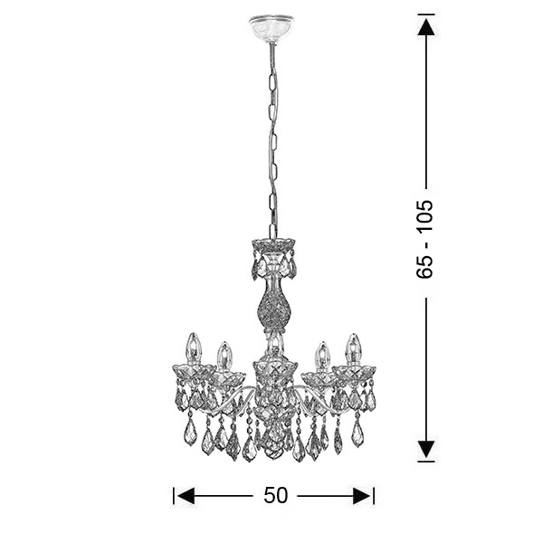 Classic 5-bulb chandelier with crystal accents | DION - Drawing - Classic 5-bulb chandelier with crystal accents | DION