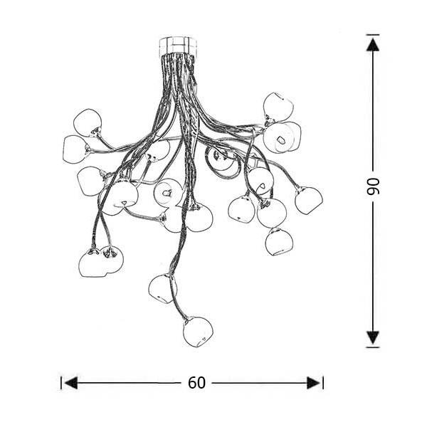 Modern 22-bulb chandelier | FLEX COLOUR - Drawing - Modern 22-bulb chandelier | FLEX COLOUR