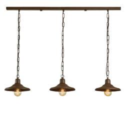 Κρεμαστό φωτιστικό τραπεζαρίας σε καφέ πατίνα ΙΟΣ brown patinated dining-table pendant lamp