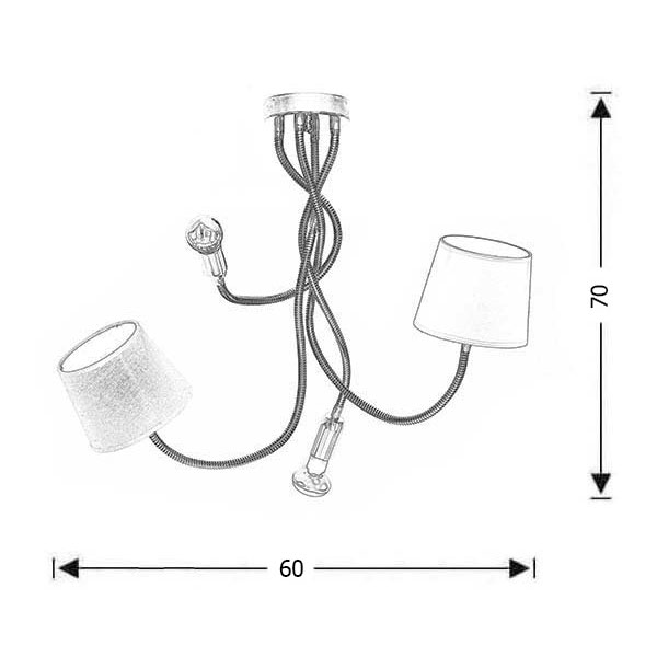 4-bulb flexible lamp | FLEX collection - Drawing - 4-bulb flexible lamp | FLEX collection