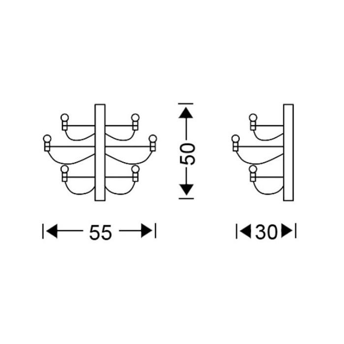 Modern 10-bulb wall lamp | AKTINES - Drawing - Modern 10-bulb wall lamp | AKTINES