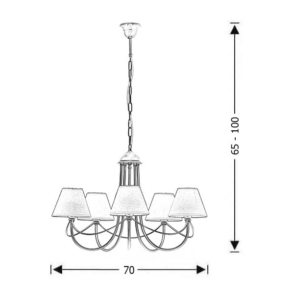 Classic brushed brass 5-bulb chandelier with shades | GYTHIO - Drawing - Classic brushed brass 5-bulb chandelier with shades | GYTHIO