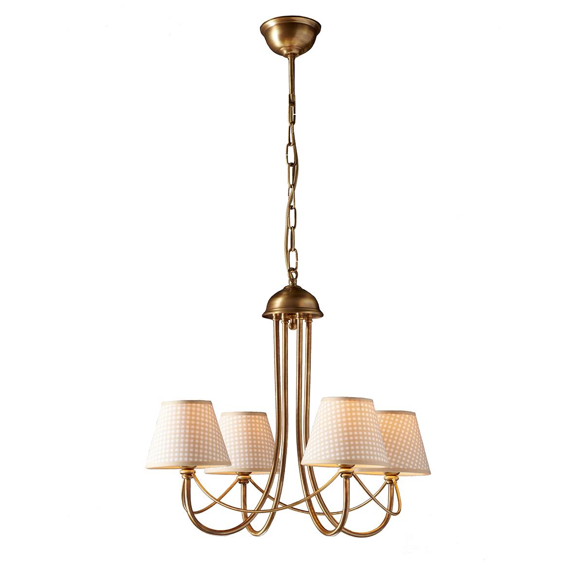 Κλασικό 4φωτο πολύφωτο με καφέ καρό καπέλα ΓΥΘΕΙΟ classic 4-bulb chandelier with brown plaided shade