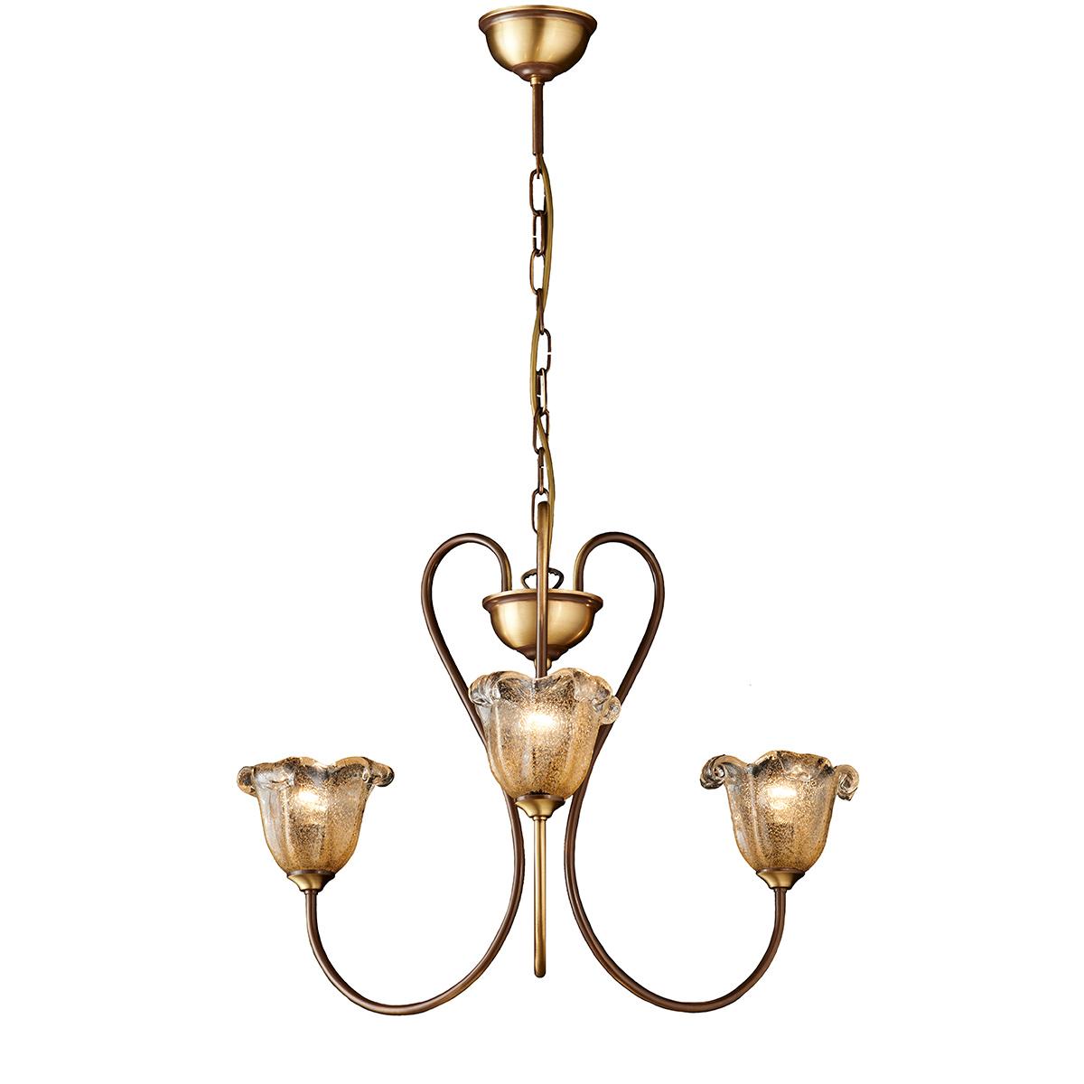 Κλασικό φωτιστικό με μελί κρύσταλλα Μουράνο ΝΑΞΟΣ-1 classic chandelier with amber Murano crystals