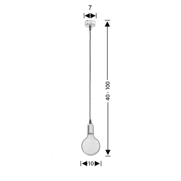 Modern black suspension lamp | CABLES - Drawing - Modern black suspension lamp | CABLES