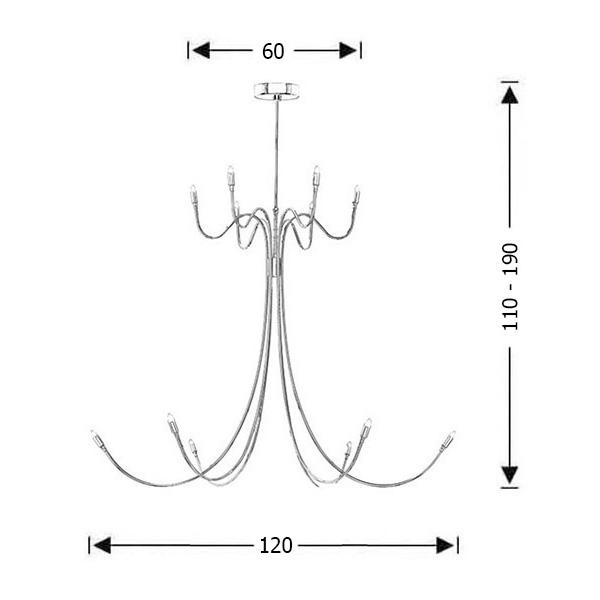 Μοντέρνο 12φωτο φωτιστικό Inox | VOLCANO - Σχέδιο - Μοντέρνο 12φωτο φωτιστικό Inox | VOLCANO