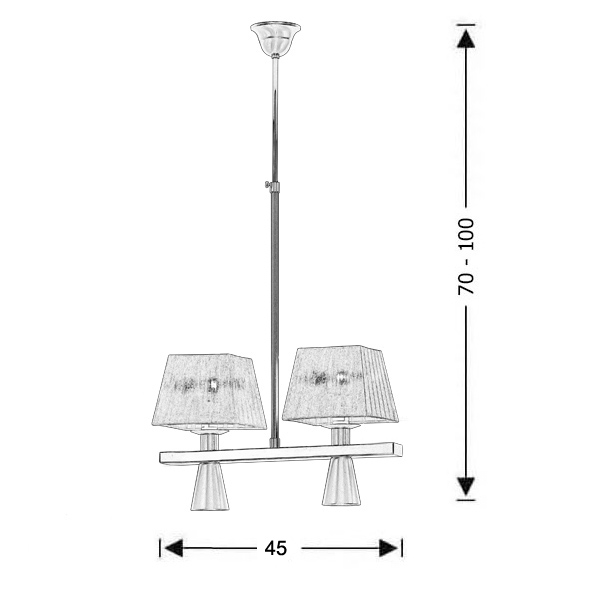 Modern 4-bulb chandelier with shades | SMART-SILVER - Drawing - Modern 4-bulb chandelier with shades | SMART-SILVER