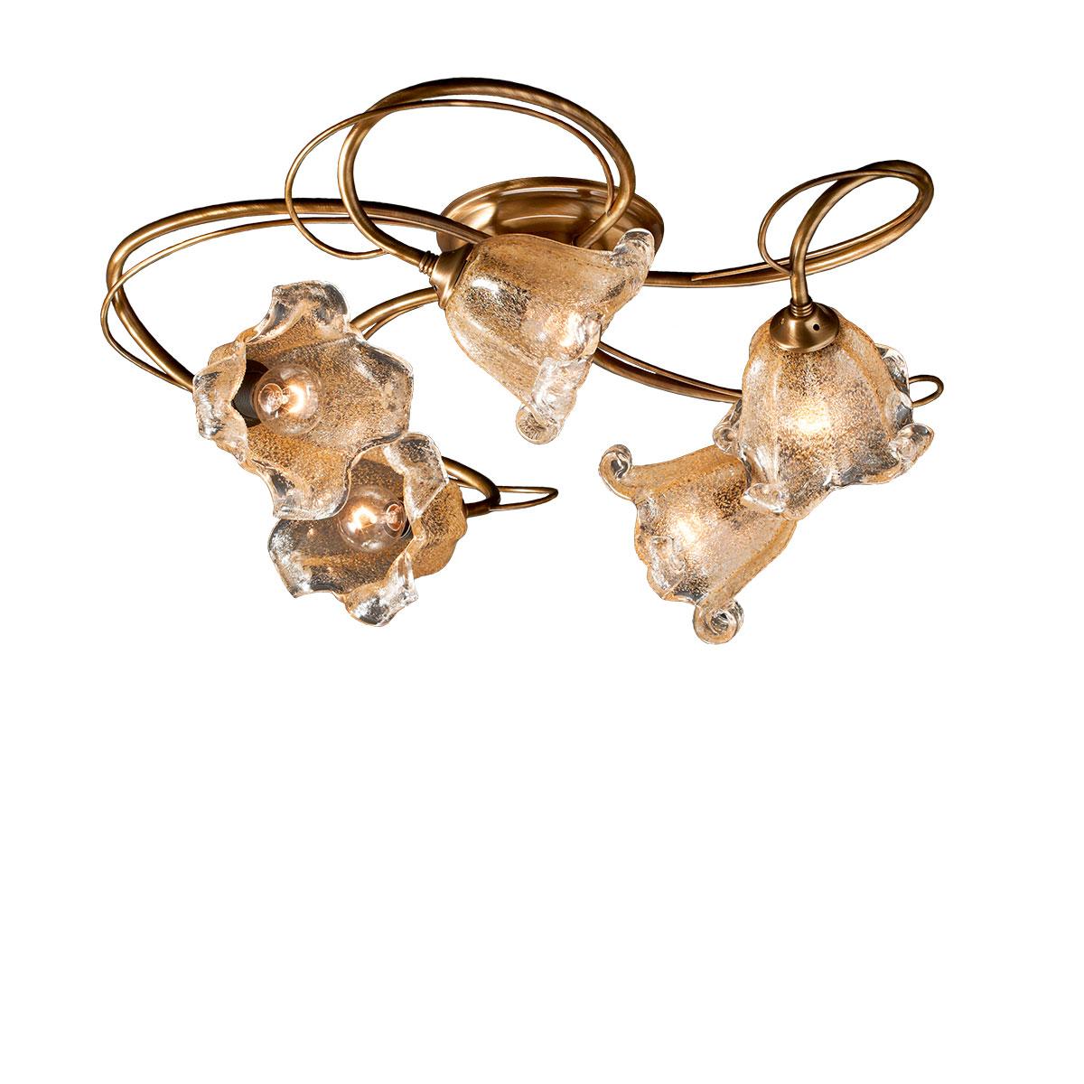 Φωτιστικό οροφής με κρύσταλλα Murano ΝΥΜΦΑΙΟ classic 5-bulb ceiling lamp with Murano crystals