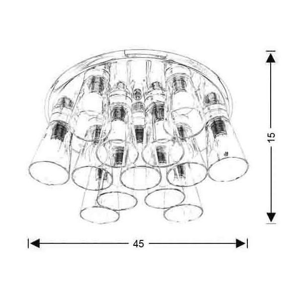 Modern 13-bulb ceiling lamp | WHISKEY - Drawing - Modern 13-bulb ceiling lamp | WHISKEY