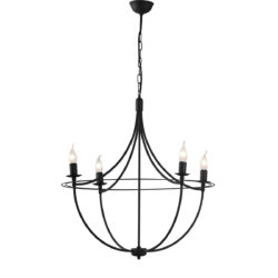 Κρεμαστό φωτιστικό σε πατίνα γραφίτη VILLAGE graphite patinated rustic chandelier
