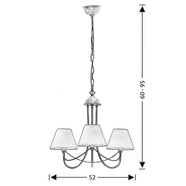 Classic 3-bulb chandelier with shades | GYTHIO - Drawing - Classic 3-bulb chandelier with shades | GYTHIO