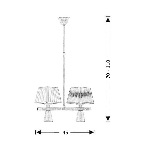 Rustic 4-bulb chandelier | SMART-CAFE - Drawing - Rustic 4-bulb chandelier | SMART-CAFE