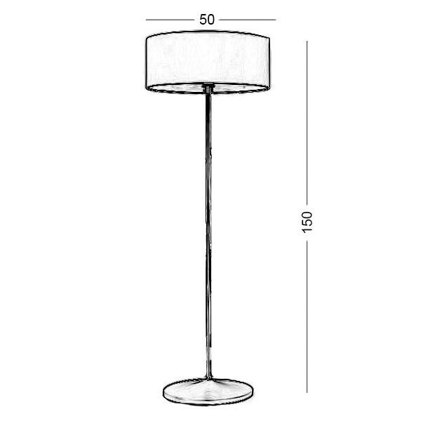 Floor lamp with red shade | DISCO ZEN - Drawing - Floor lamp with red shade | DISCO ZEN