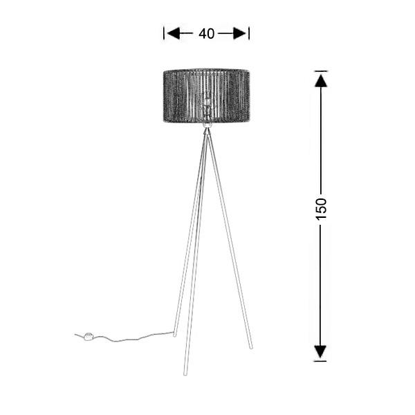 Τρίποδο φωτιστικό δαπέδου | KELLY - Σχέδιο - Τρίποδο φωτιστικό δαπέδου | KELLY