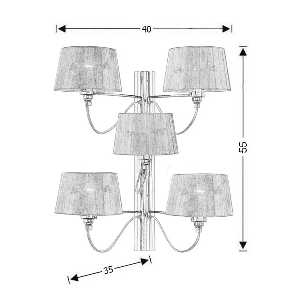 Modern 5-bulb wall lamp | ORGANZA - Drawing - Modern 5-bulb wall lamp | ORGANZA