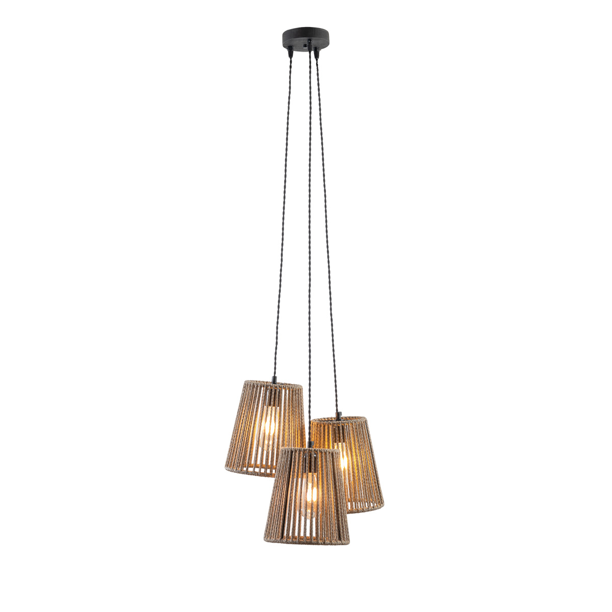 Τρίφωτο χειροποίητο φωτιστικό CORD 3-bulb handmade light fixture