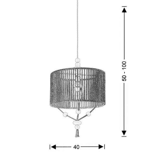 Rope-woven light fixture | KELLY - Drawing - Rope-woven light fixture | KELLY