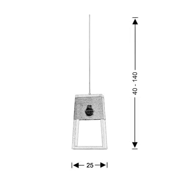 Wooden handmade suspension lamp | SOHO - Drawing - Wooden handmade suspension lamp | SOHO