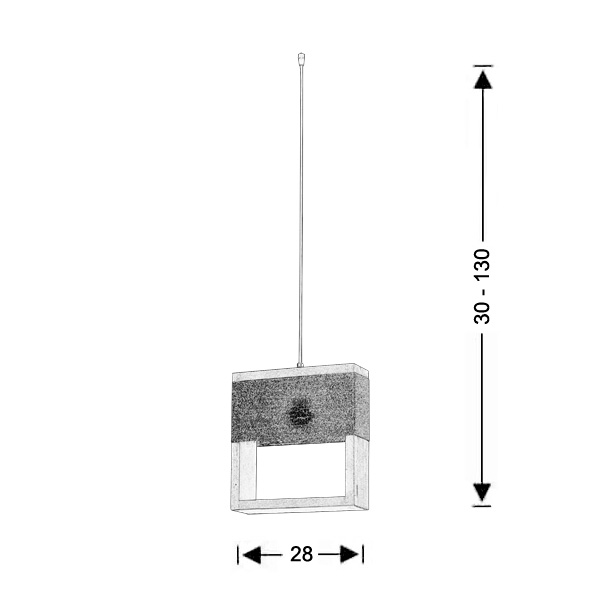 Square wooden pendant light | SOHO - Drawing - Square wooden pendant light | SOHO