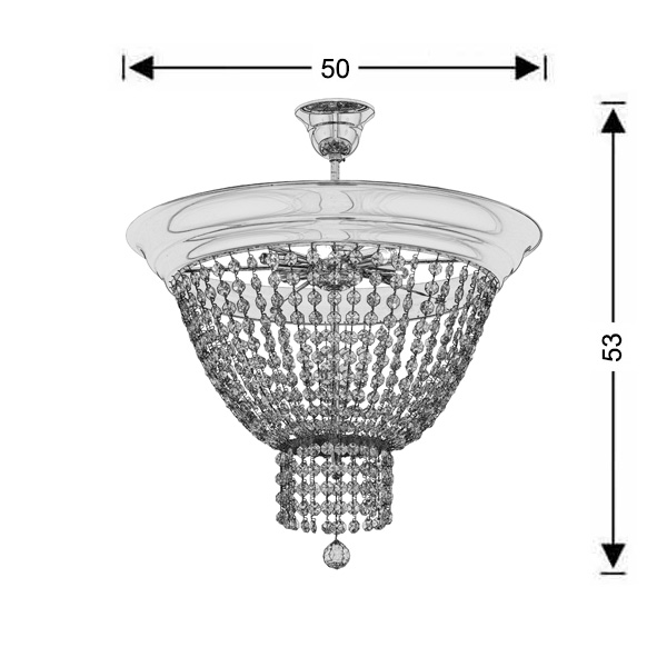 Classic ceiling lamp with crystal accents | PHAEDRA - Drawing - Classic ceiling lamp with crystal accents | PHAEDRA
