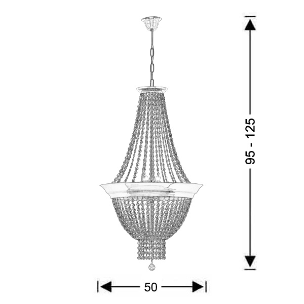 Suspension lamp with crystal accents | PHAEDRA - Drawing - Suspension lamp with crystal accents | PHAEDRA
