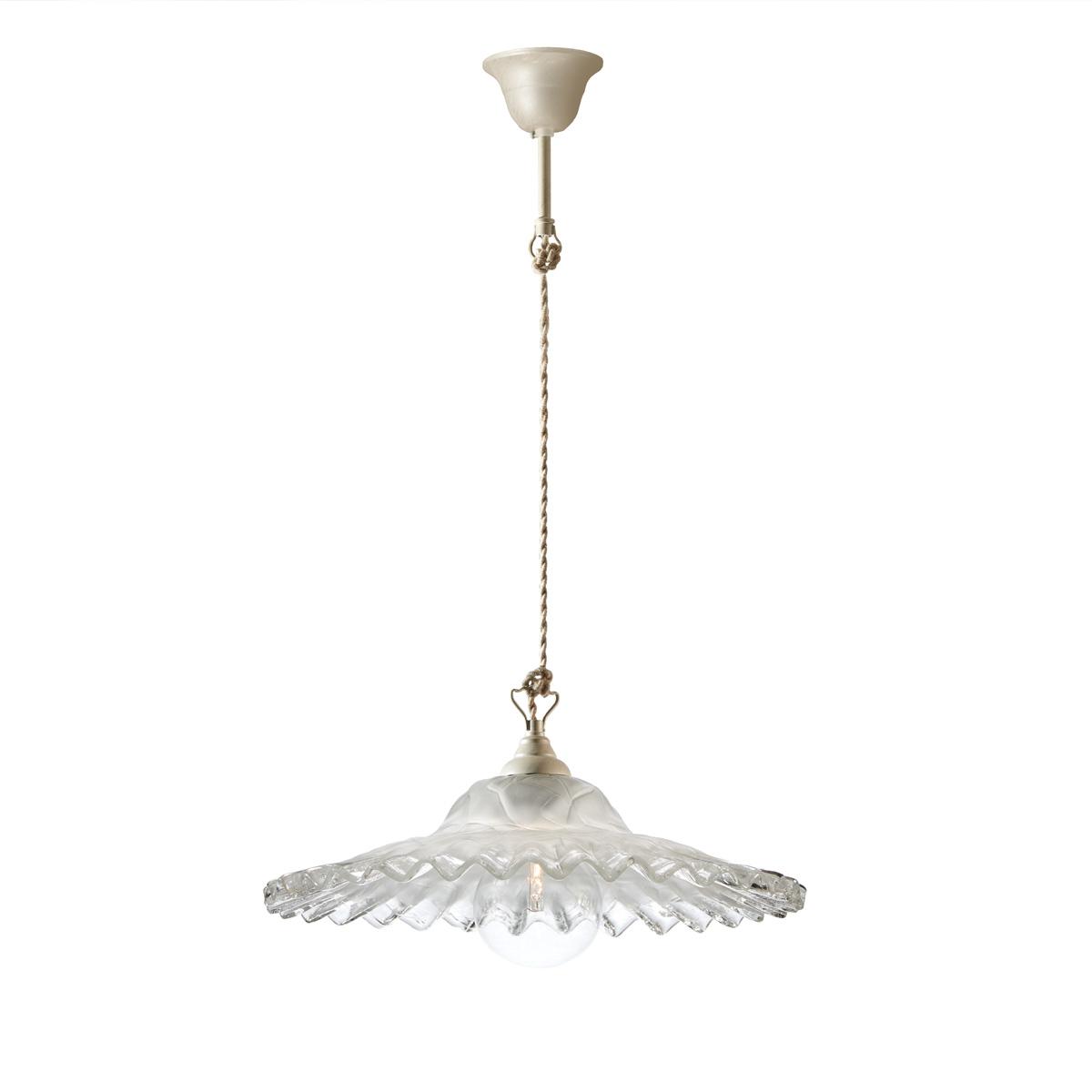 Παραδοσιακό μονόφωτο με λευκό γυαλί Μουράνο ΣΥΡΟΣ white patinated rustic suspension lamp