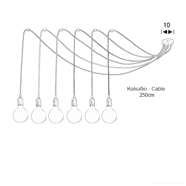 6-bulb chandelier with colorful cables | CABLES - Drawing - 6-bulb chandelier with colorful cables | CABLES