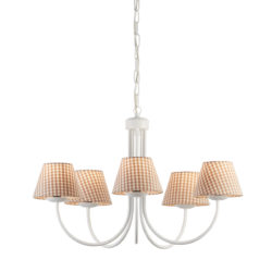 Κρεμαστό φωτιστικό με καφέ καρό καπέλα BIANCO-1 chandelier