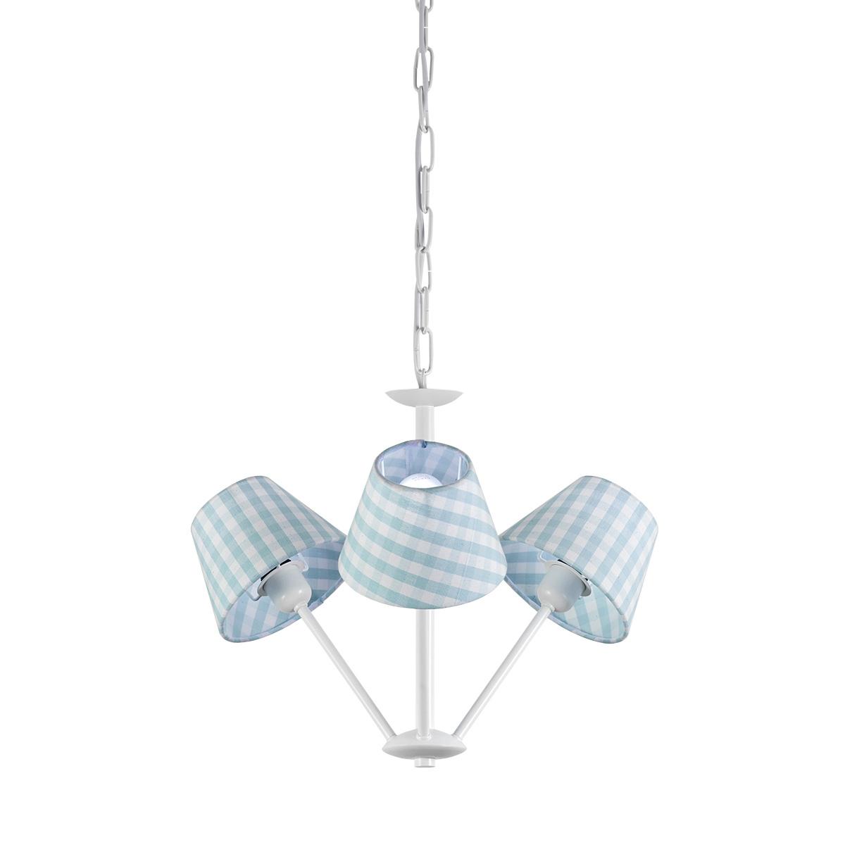 Φωτιστικό με σιελ καρό καπέλα CAROUSEL lighting with light blue plaided shades